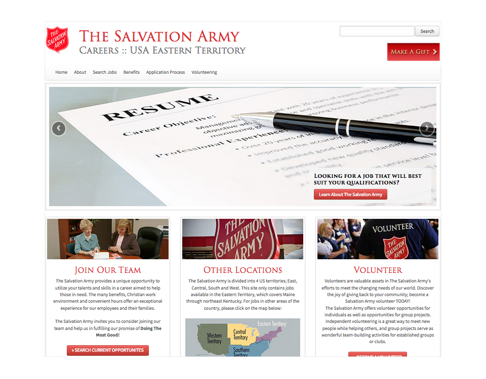 The Salvation Army Career Portal Website