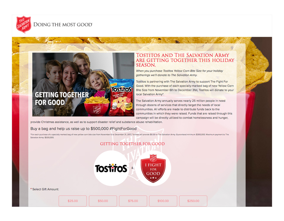 A Salvation Army Donation Page
